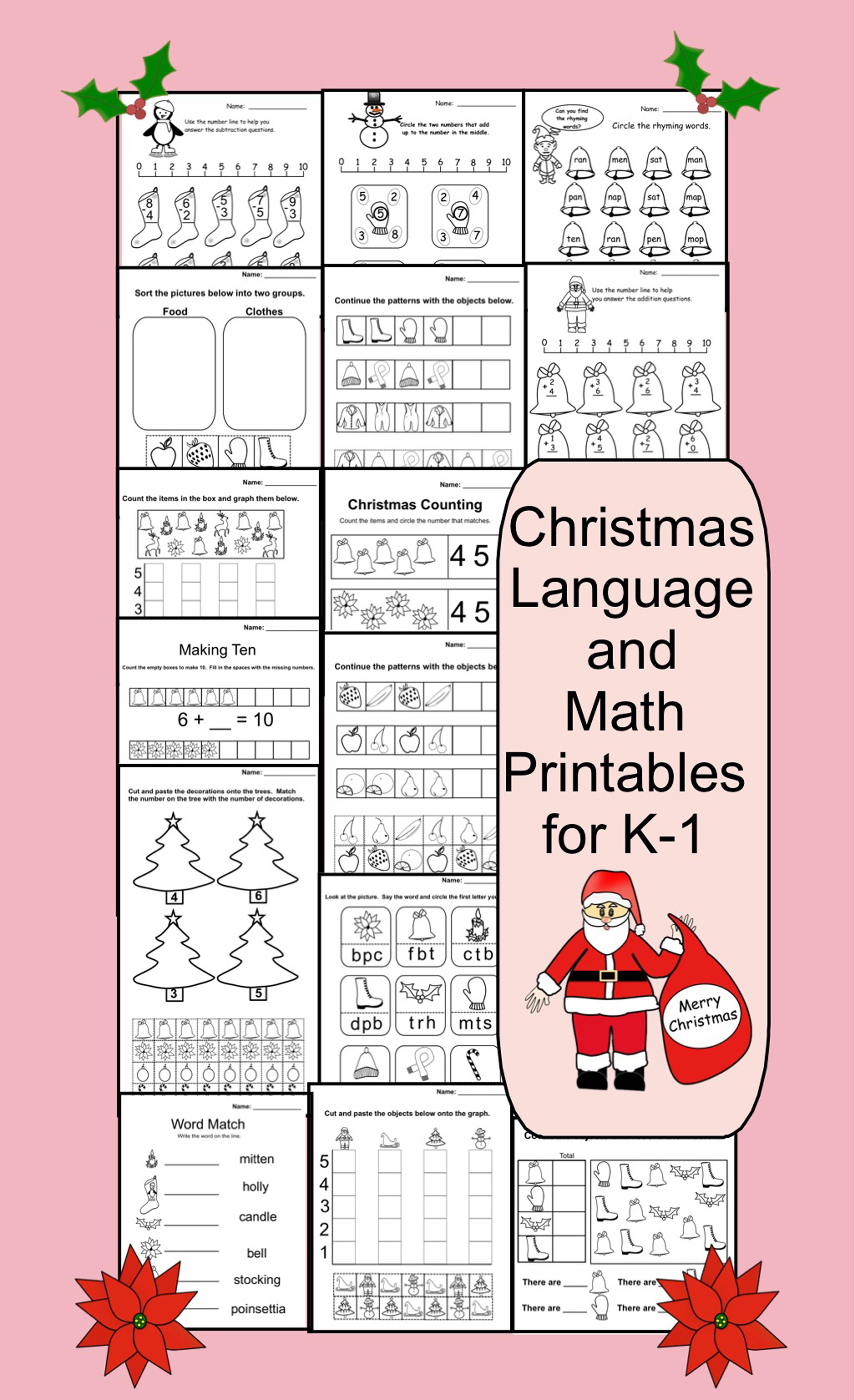 15 Christmas Printable Math And Language Pages K 1