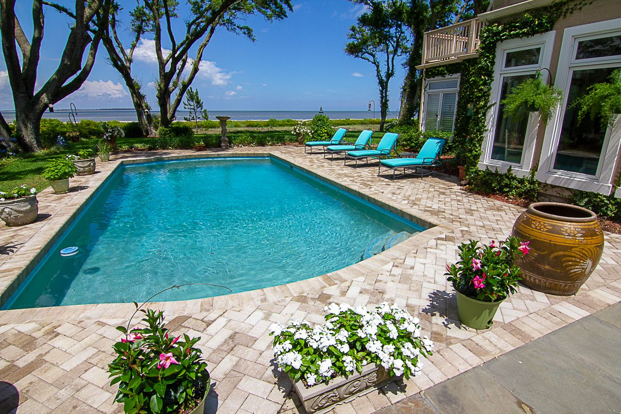 Completed Brick Paver Pool Deck Remodel Hilton Head Island American Paving Design Pool Landscape Design Paving Design Pool Pavers