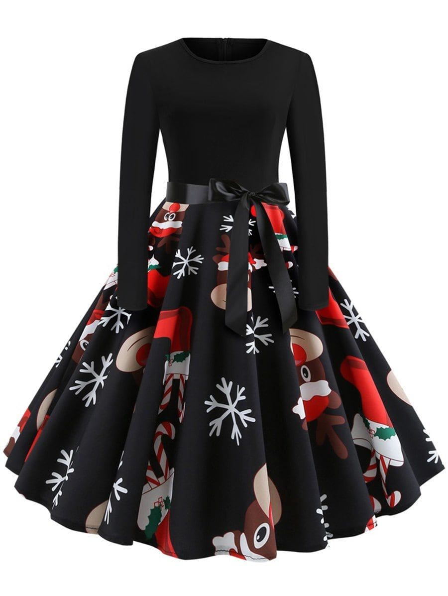 Christmas Print Stitching Long Sleeves And Large Dresses Christmas Dress Women Party Dress Long Sleeve Elegant Party Dresses [ 1197 x 900 Pixel ]