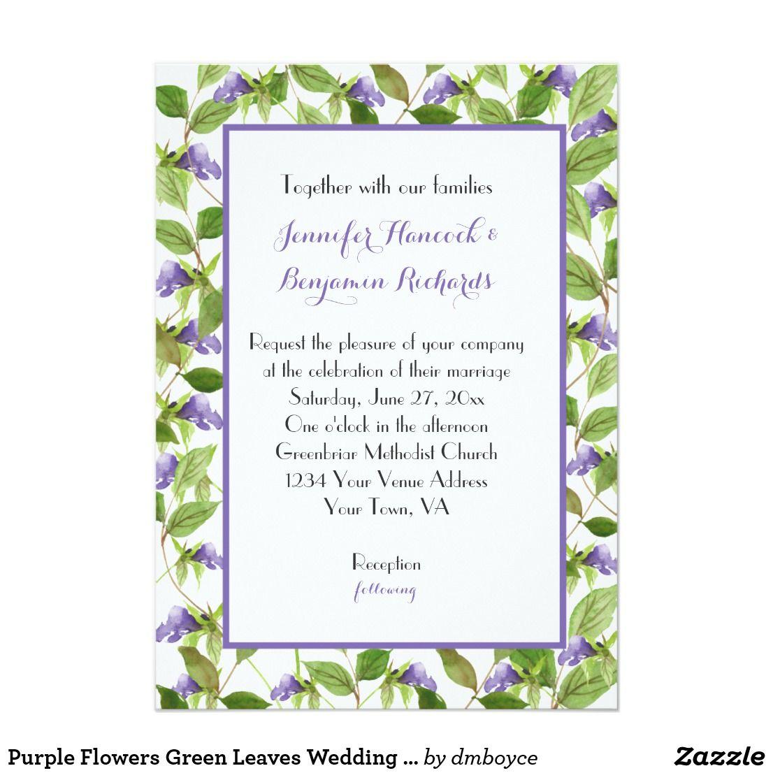 Purple Flowers Green Leaves Wedding Invitations | Watercolor Wedding ...