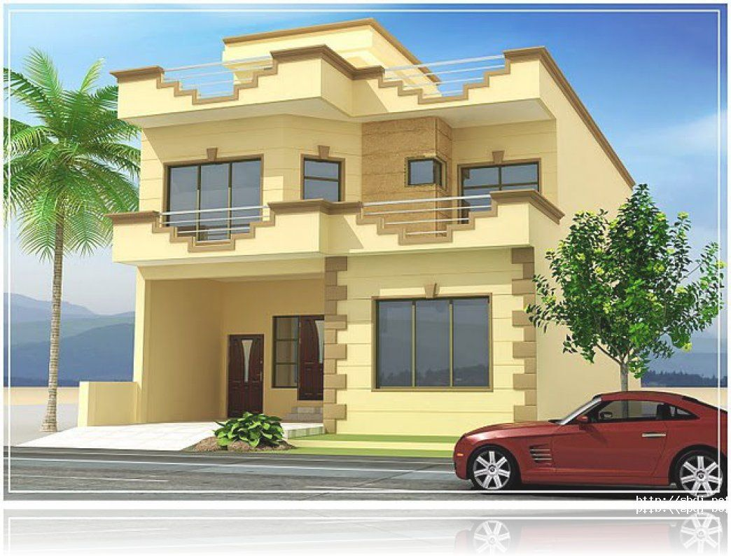 3d front pakistan beautiful front elevation for Normal home front design