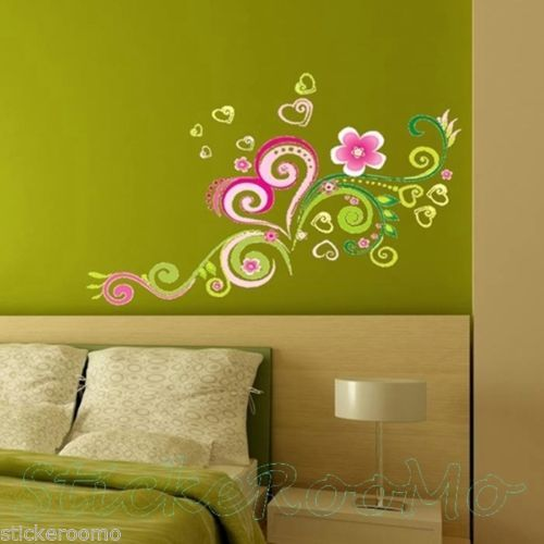 HEART-FLOWERS-CHILDRENS-ROOM-WALL-ART-STICKERS-REMOVABLE-DECALS-HOME ...