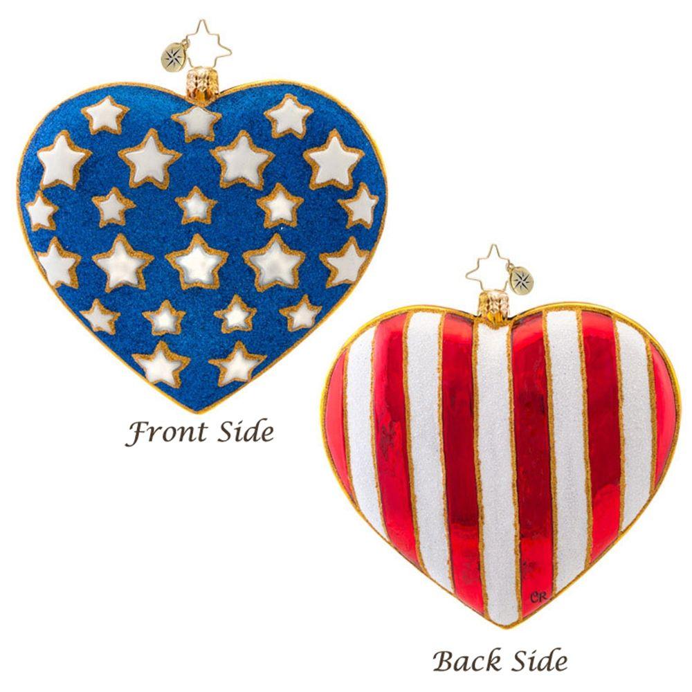 Patriotic Christmas Background.Christopher Radko America Full Of Heart Patriotic Christmas