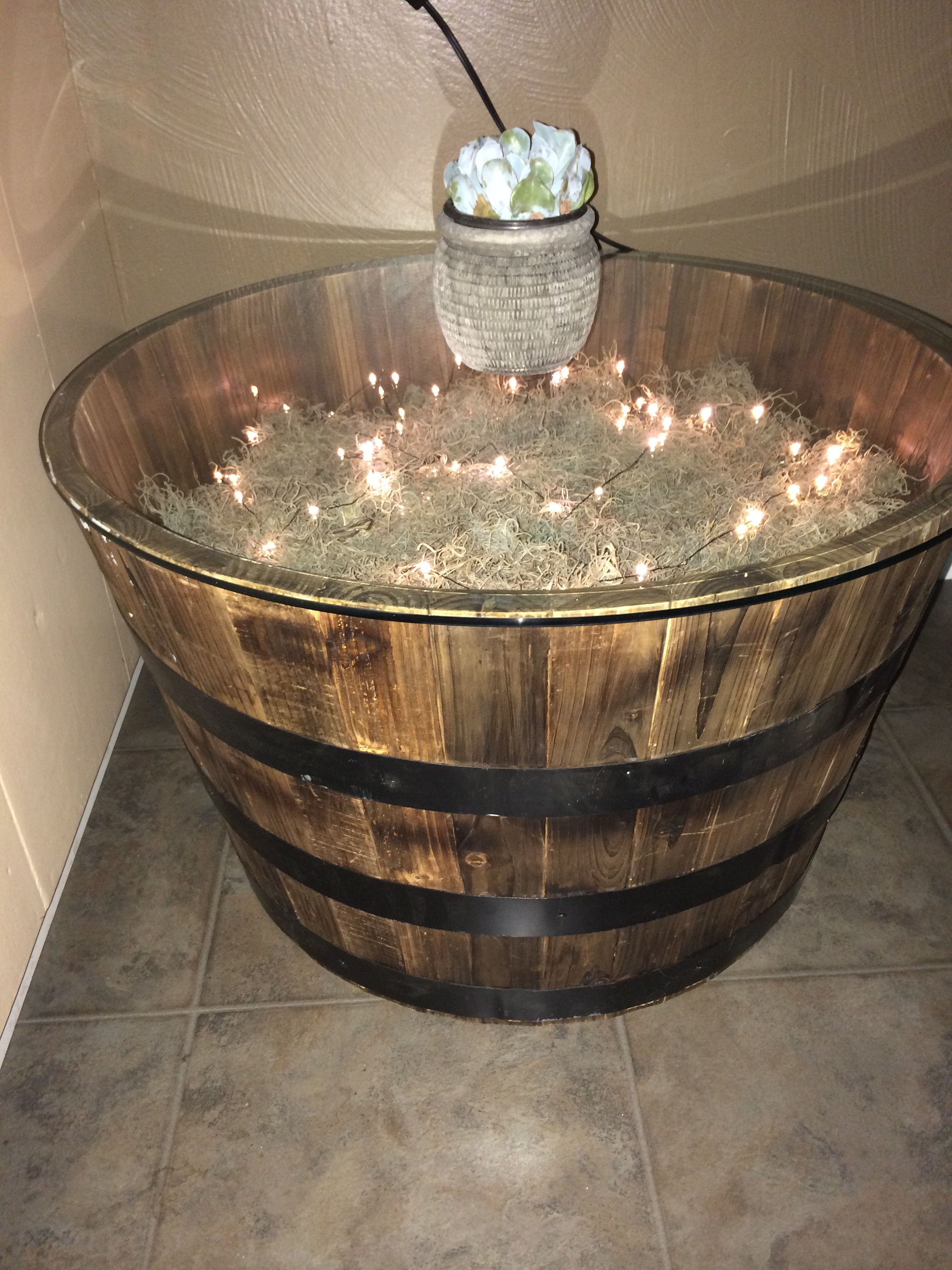 Whiskey Barrel Table Can I Do This W Plexiglass Outdoors