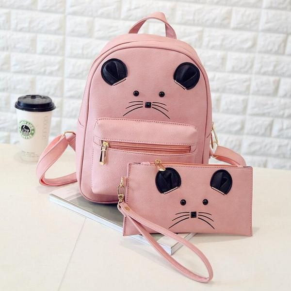 82285b7816a3 Children s Solid Color Leather Cute Little Cartoon Mouse 2-PC Backpack  Clutch…