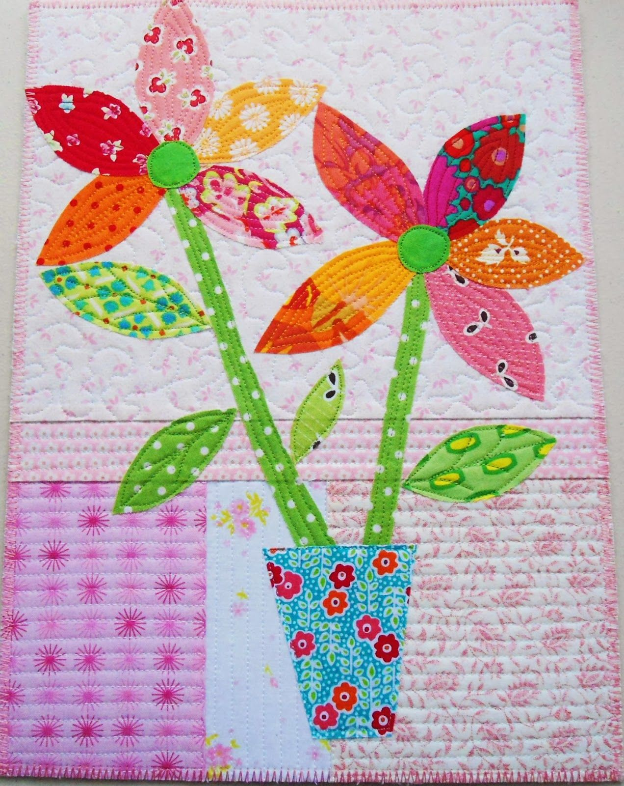 Pinkadot Quilts Pink Snow Flowers  Quilting u sewing board
