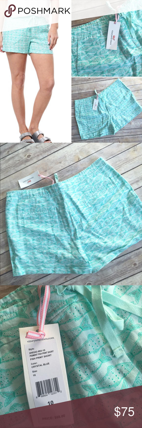 Vineyard Vines Fish Print Linen Shorts Vineyard Vines Fish Print Linen Shorts. Size 10. Color is Crystal Blue. NWT, 100% Linen. Size up for looser fit. ***PRICE IS FIRM, NO TRADES, NO discussion on price in comments*** Vineyard Vines Shorts