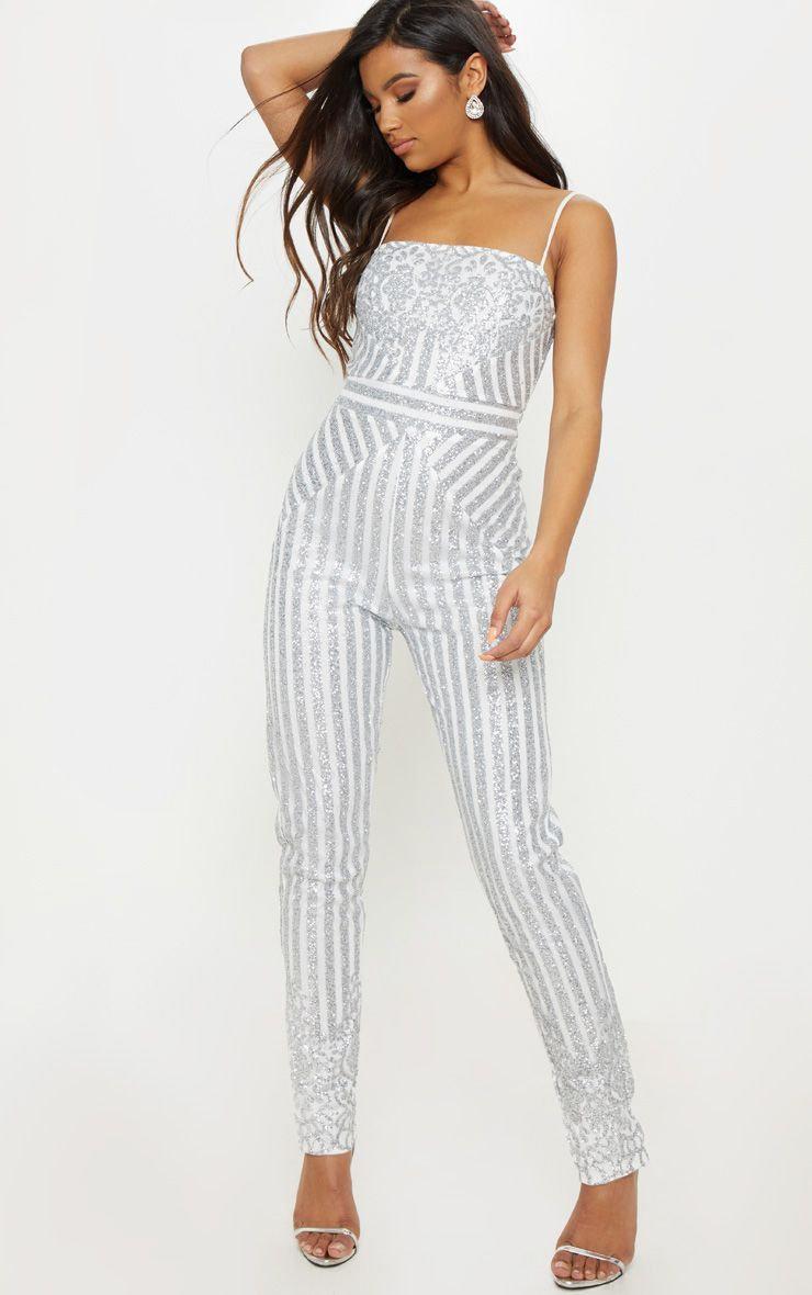 cffbe553d30 Silver Glitter Striped Strappy Jumpsuit in 2019