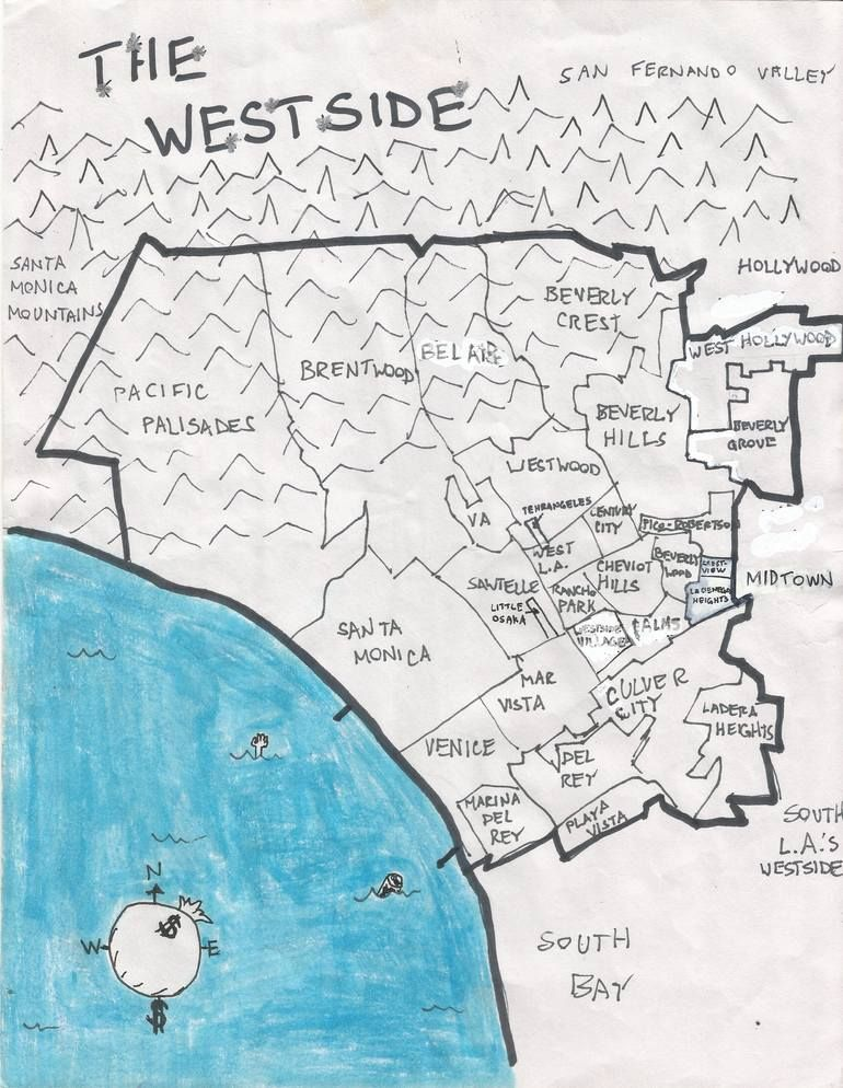 The Westside Drawing In 2020 Westside Los Angeles Map East Los Angeles