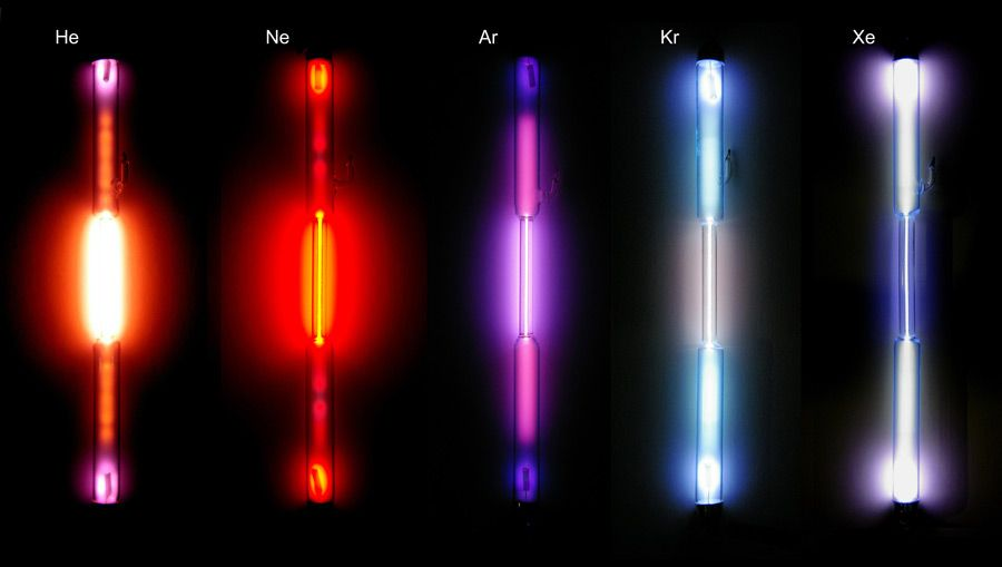 The color discharge of the first five Noble Gases, respectively - fresh periodic table of elements neon