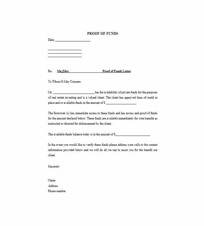 Sample Proof Of Funds Letter 7 Proof Of Funds Letters To Download