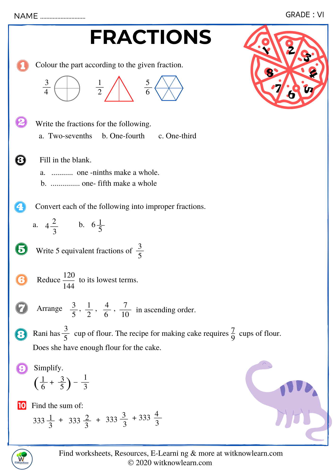 Fractions Worksheets In