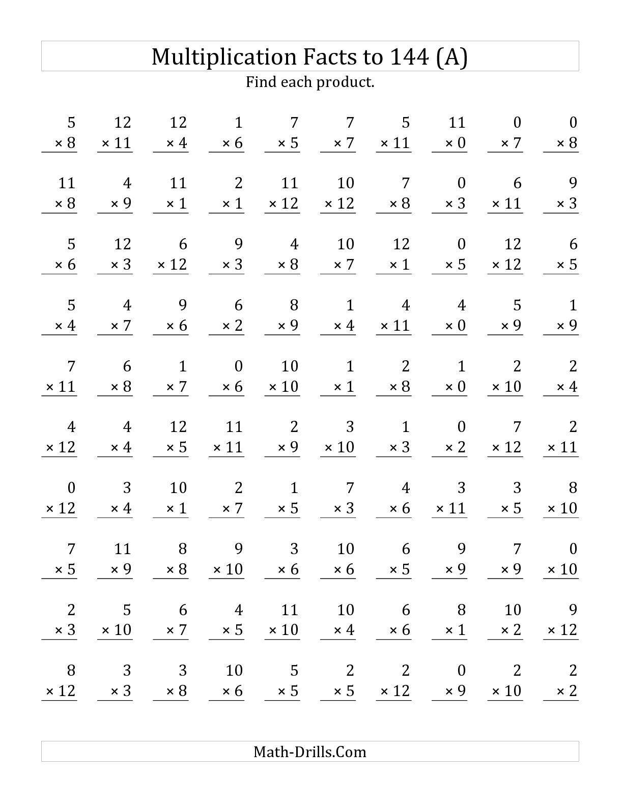Worksheets Math Multiplication Worksheets the multiplication facts to 144 including zeros a math worksheet from page at drills com