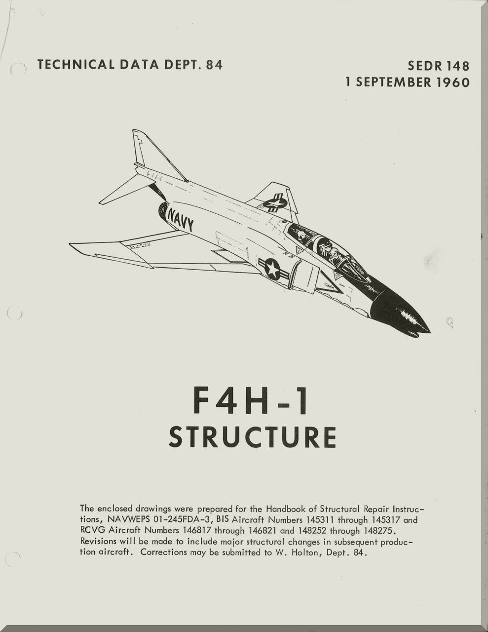 Mc Donnell Douglas F-4H -1 Aircraft Structure Manual - -1960