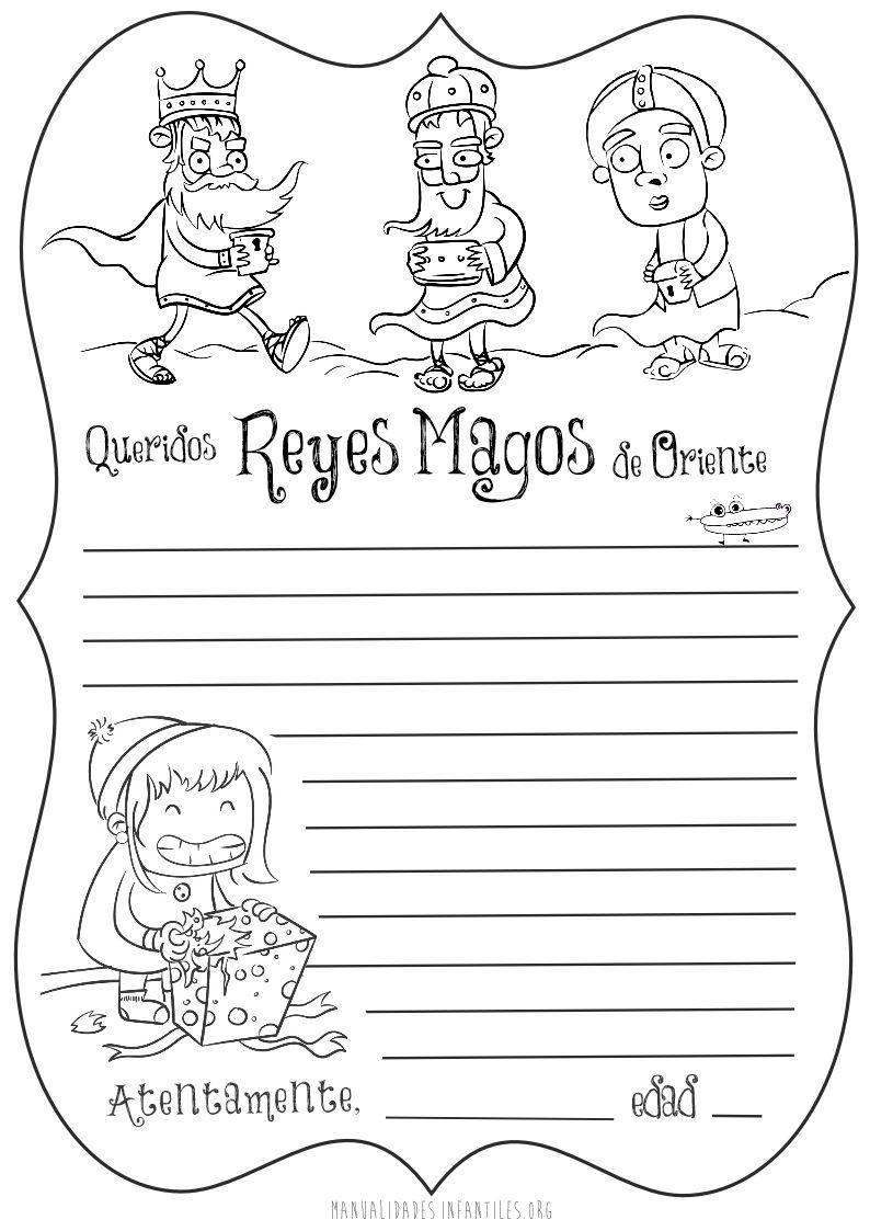 Carta de los Reyes magos para imprimir y colorear | Magos, Rey y ...