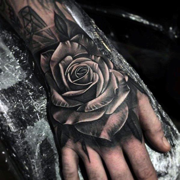 98f70b841 White And Grey Ink Shaded Guys 3d Rose Flower Hand Tattoo | tattoo ...