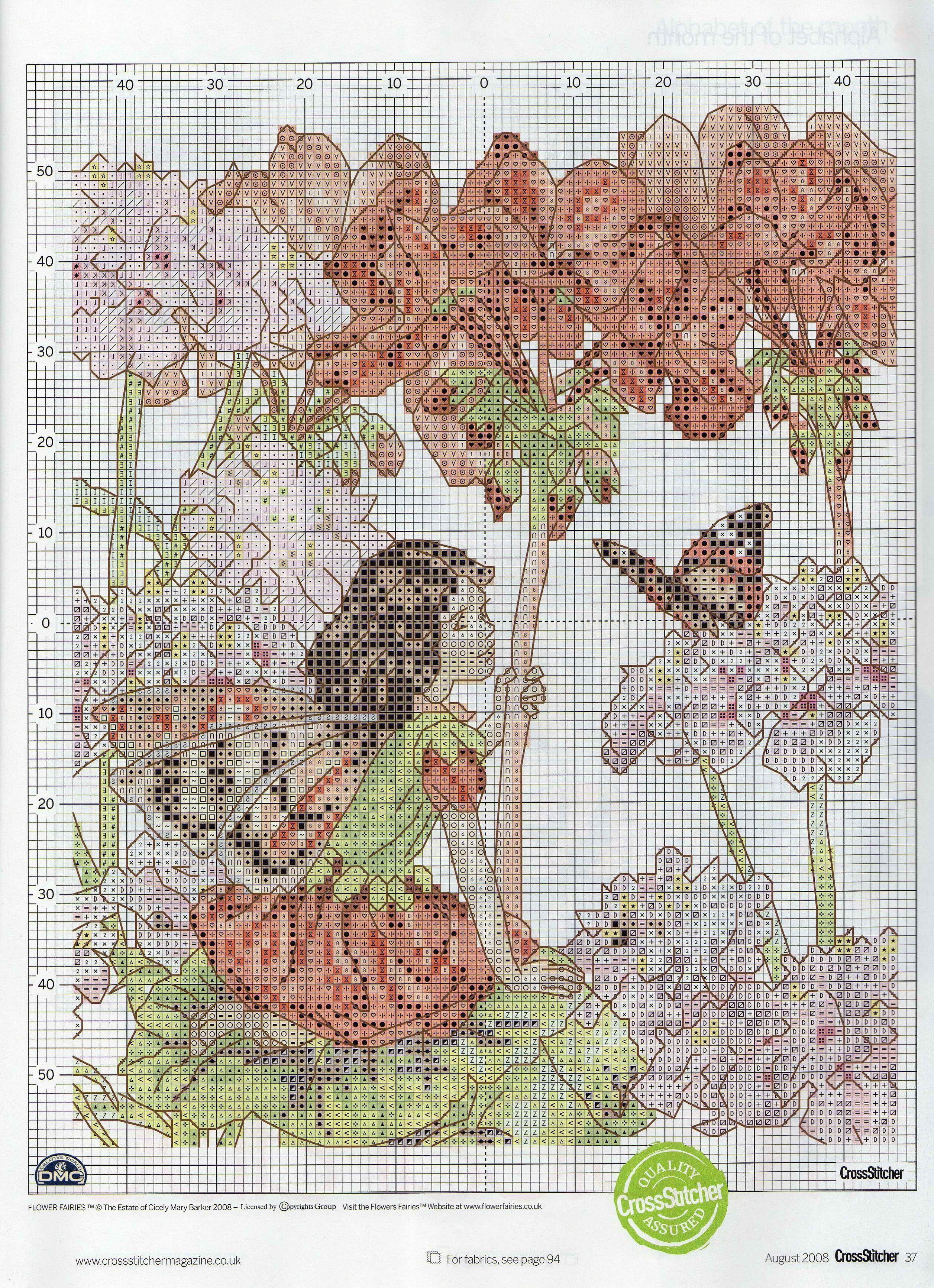 Cross stitch fairies geranium fairy cicely mary