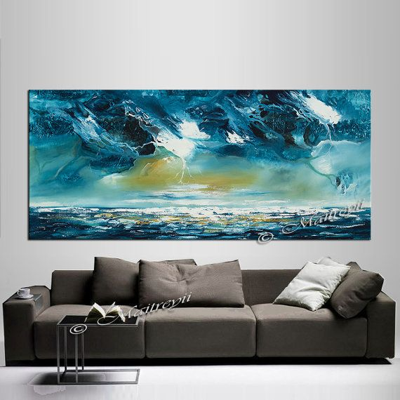 Blue Ocean Abstract Art Painting On Canvas Blue Color Acrylic Thick Paint  Huge Wall Painting Thanksgiving