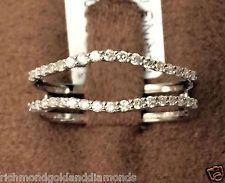 Solitaire Enhancer Insert Diamonds Ring Guard Wrap 14k White Gold