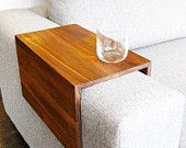 Couch Arm Wrap - reclaimed wood arm rest table for couch sofa or ottoman