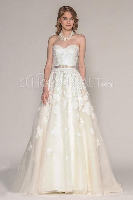 Hochzeitskleider für mollige Brautkleider große größen A Linie Spitze Herz  Ausschnitt Corsage [#UD9241] - schoenebraut.com