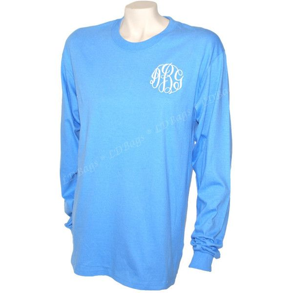 Monogram Tee Shirt ($17) ❤ liked on Polyvore featuring tops, t-shirts, black, women's clothing, long sleeve tops, monogrammed long sleeve shirts, checkered t shirt, monogrammed shirts and cotton t shirts