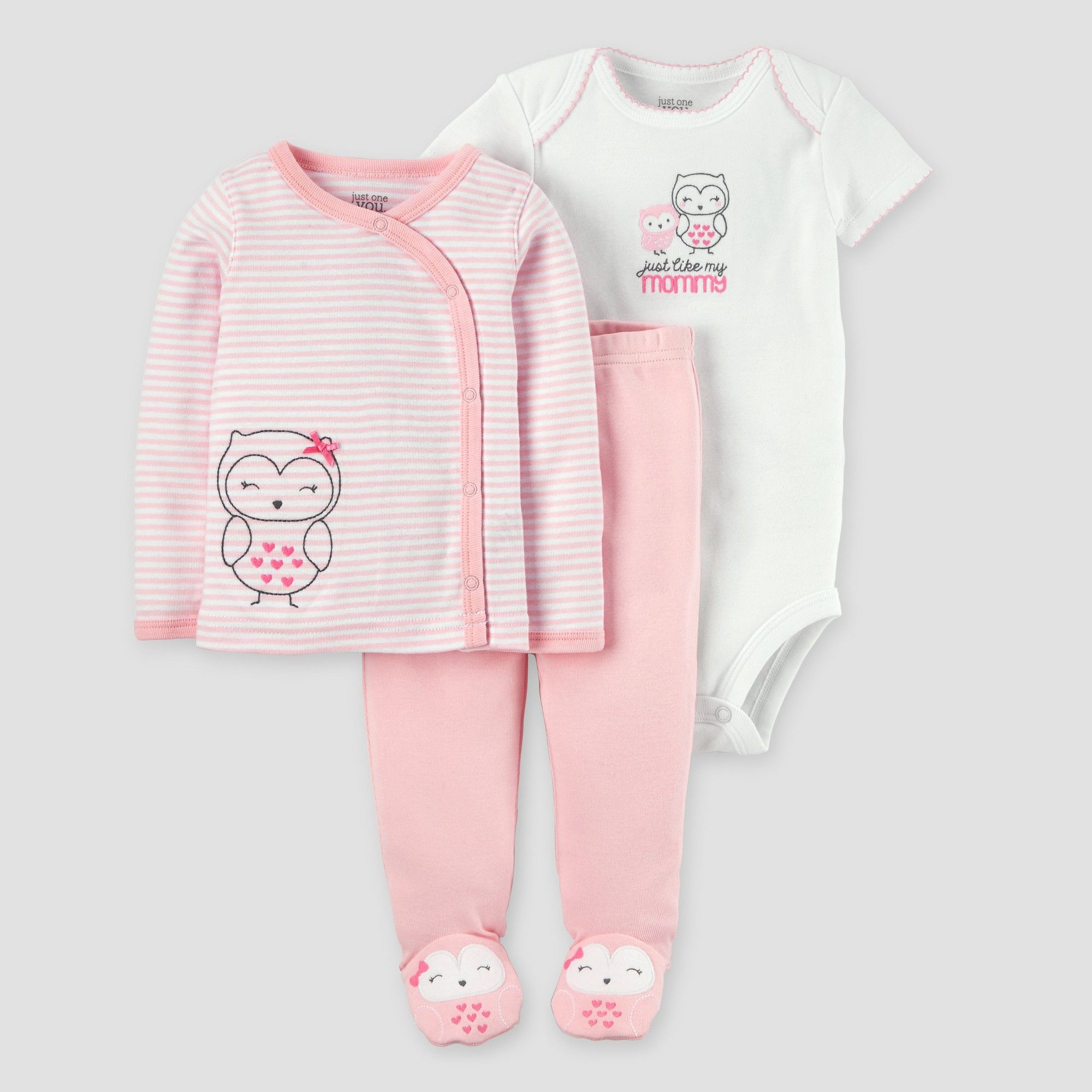 Baby Girls 3pc Owl Side Snap T Shirt Layette Set Just e You