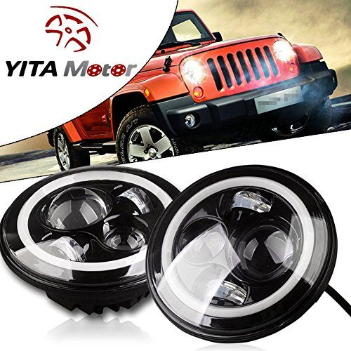 Yitamotor 7 Inch Cj Tj Jk Jeep Wrangler Led Headlight Halo Angle