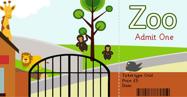 Zoo role play ticket   Editable zoo ticket ideal for role
