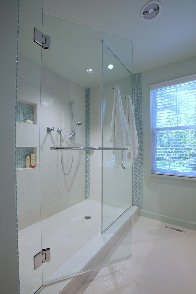 Custom built luxury bathroom on Cape Cod with blue accent tiles ...