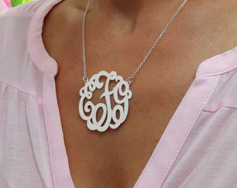 Monogram letters necklace 15 por monogrampersonalized en etsy monogram letters necklace 15 por monogrampersonalized aloadofball Choice Image