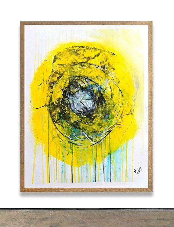 Minimal artwork on paper original painting on paper yellow art black ...