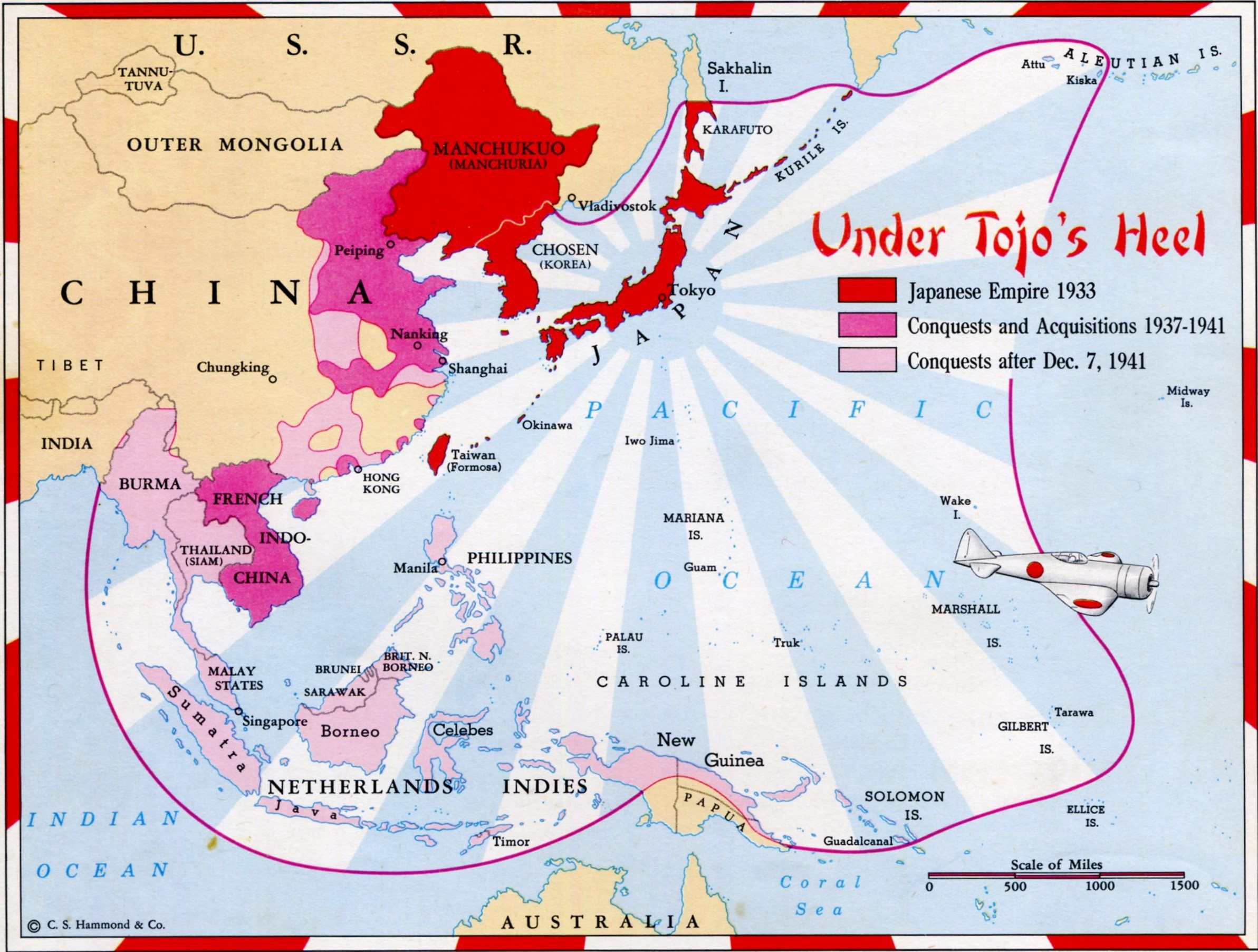 Map Of The Japanese Empire Showing Changes From To - Japan map 1500