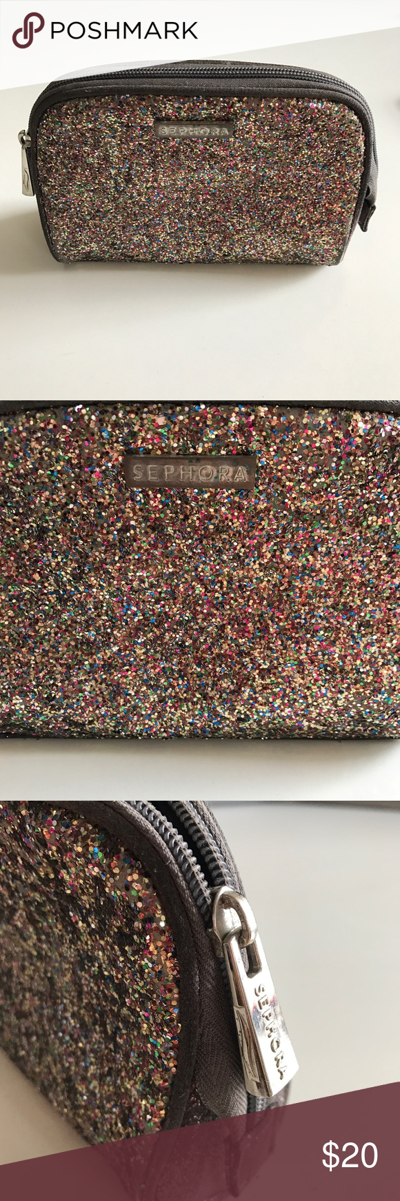 Sephora Leather & Glitter Makeup Bag Leather beautiful