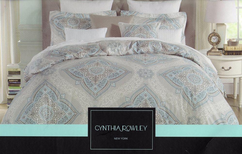 Cynthia Rowley Full Queen 3pc Duvet Cover Gray Blue Grey Ikat