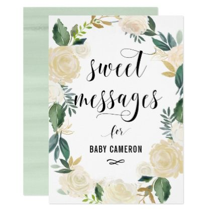 watercolor flowers with gold glitter baby messages card
