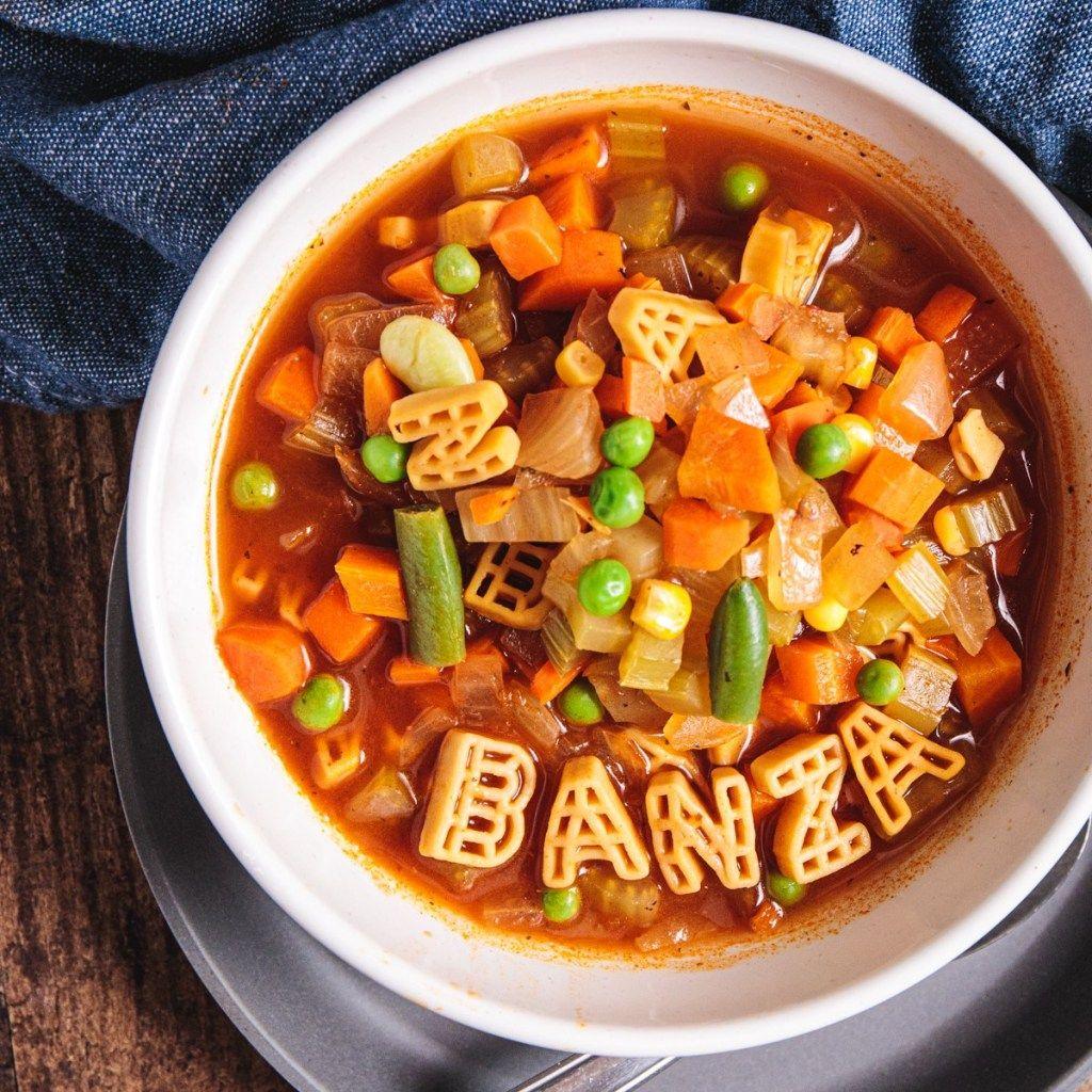 Easy plantbased chickpea alphabet vegetable soup recipe