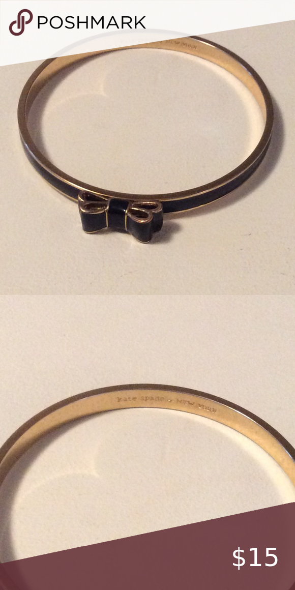 Kate Spade Take A Bow Bangle Black And Gold With Small