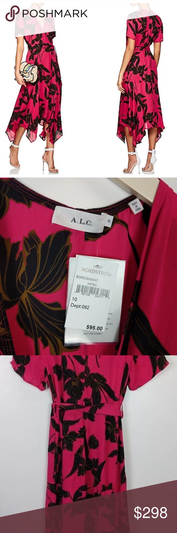 83a391dde946 A.L.C Cora Floral Print Silk Midi Wrap Dress A.L.C.