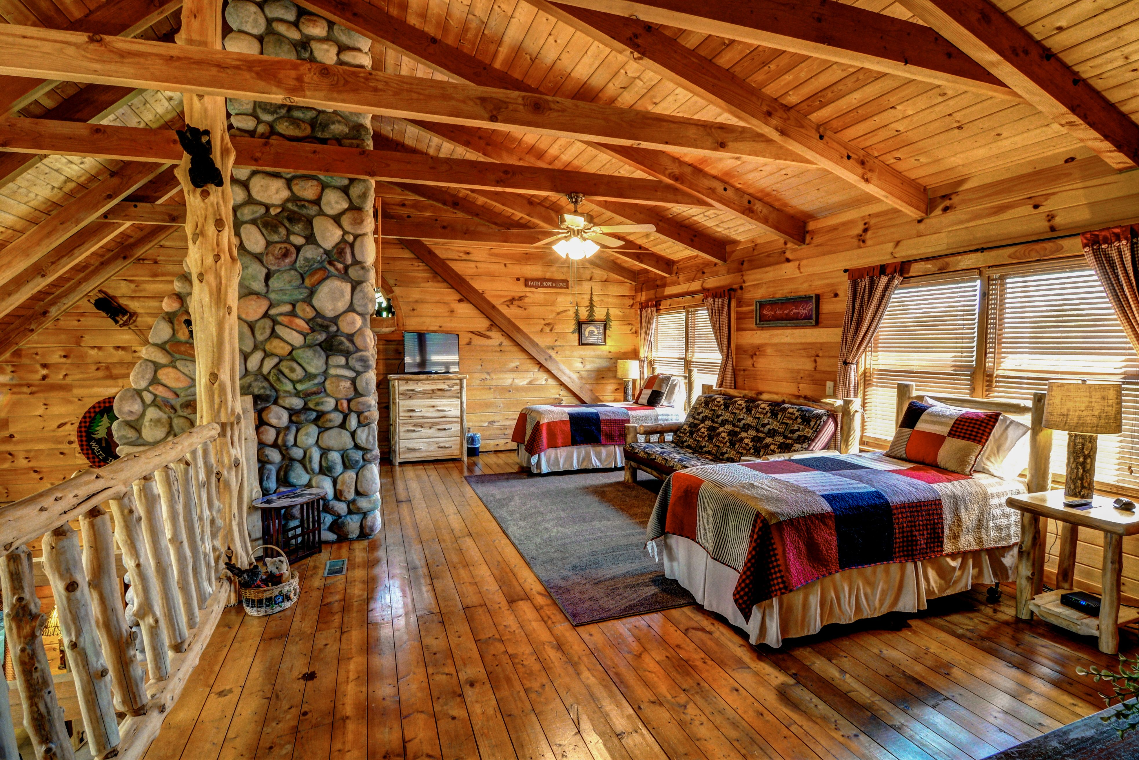 photo in rooms log website cabins fox great cabin front view trail branson