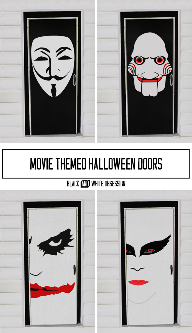 Black and White Obsession: Movie Themed, Halloween Door Decorations