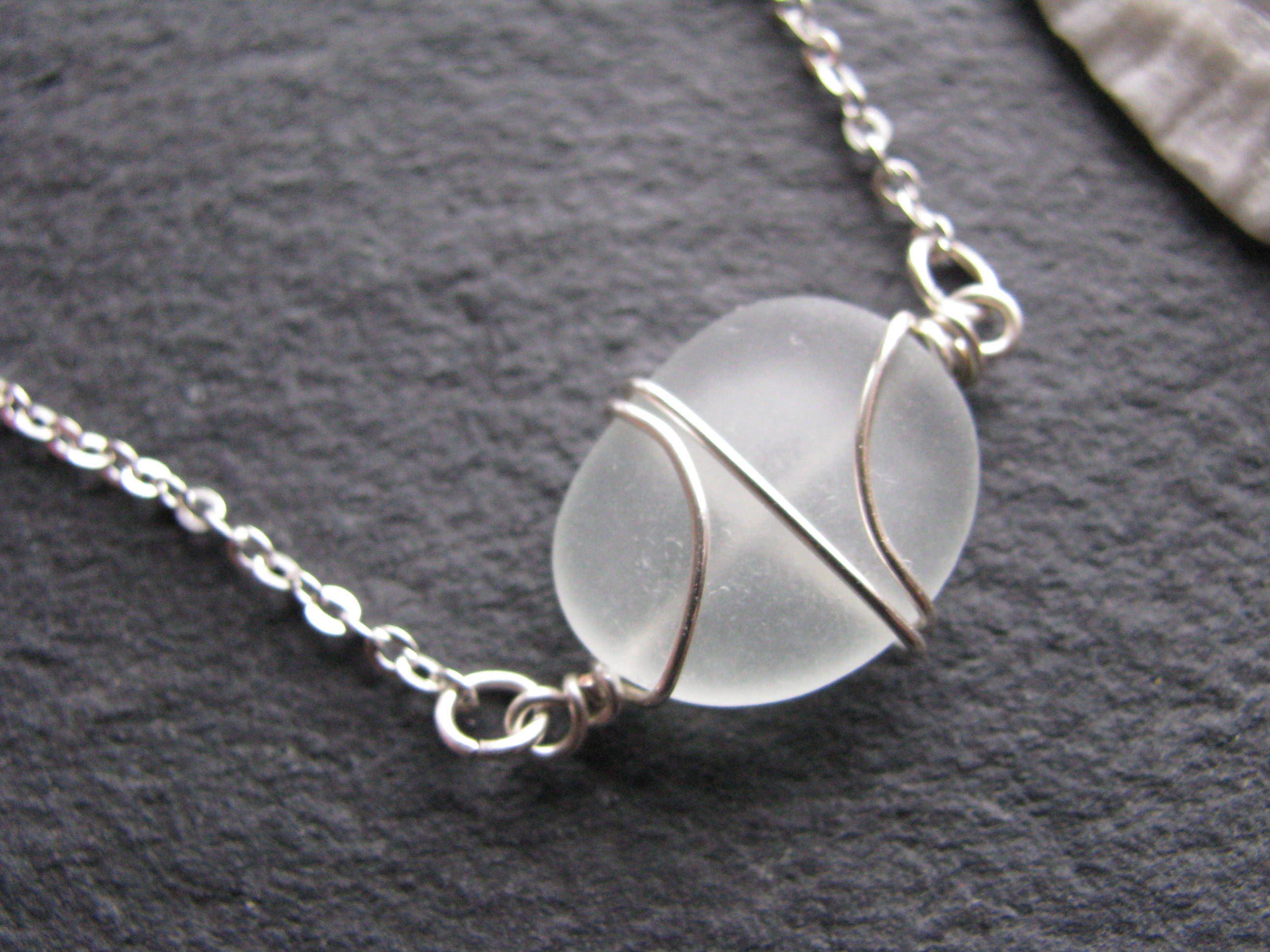 Tiny white Sea Glass Bracelet or Necklace Beach Wedding Jewelry