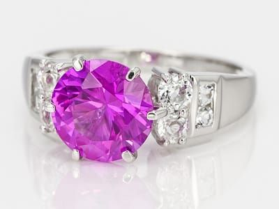 2.85ct Round Lab Created Pink Sapphire With .62ctw White Topaz Sterling Silver Ring