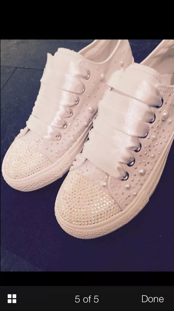 Wedding bridal customised trainers pumps converse style c2d7bf5d9