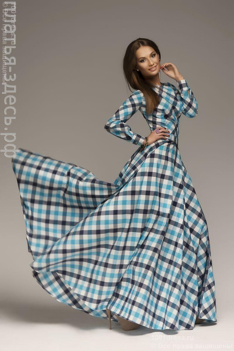 Платье длины макси в синюю клетку dmbl поделки pinterest