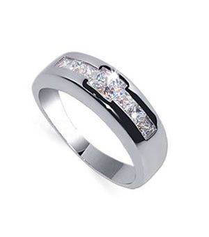 mens rhodium plated sterling silver cubic zirconia ring