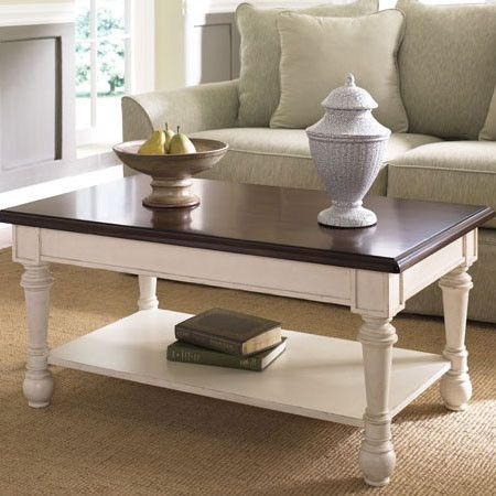 Two Tone Table With A Bottom Display Shelf And Turned Legs