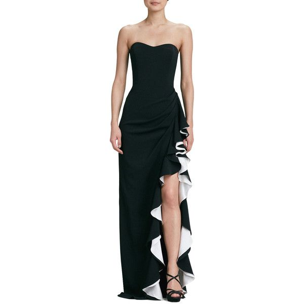 Badgley Mischka Strapless Colorblock Gown ($670) ❤ liked on ...