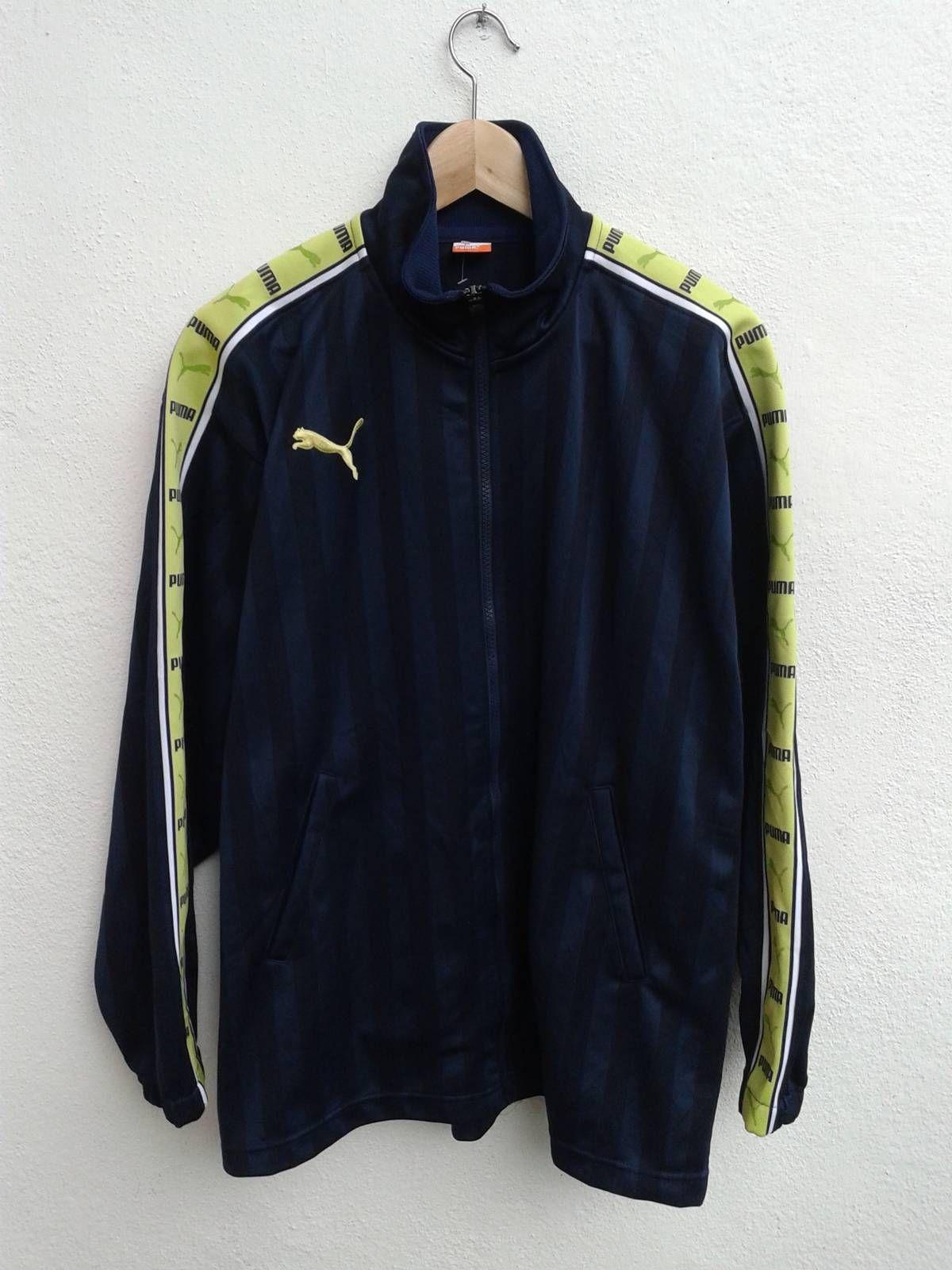 Puma Neon Sportswear Big Logo Sleeve Stripes Spell Out Running Jacket Size S M Running Jacket Jackets Vintage Jacket [ 1600 x 1200 Pixel ]