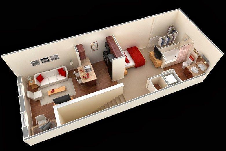 Departamentos peque os planos y dise o en 3d tiny for Diseno de interiores departamentos pequenos
